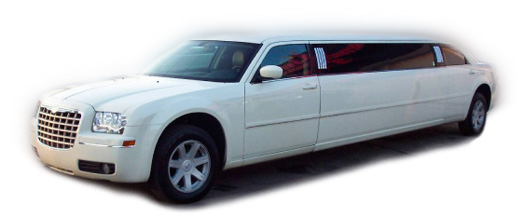 Chauffeur stretched white Chrysler C300 Baby Bentley limo hire in UK