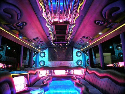 Chauffeur driven Party Bus limo hire interior in UK