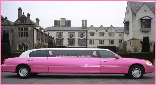 Chauffeur stretch pink Lincoln limo hire in UK