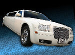 Chauffeur stretched cream Chrysler C300 Baby Bentley limo hire in Birmingham, Dudley, Wolverhampton, Telford, Walsall, Stafford, Worcester