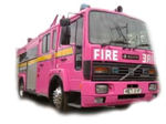 Pink Fire Engine limo hire in UK