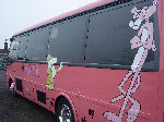 Chauffeur driven Pink Panther Party Bus limo hire in Birmingham, Coventry, Dudley, Wolverhampton, Telford, Worcester, Walsall, Stafford, Midlands