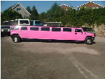 Chauffeur stretch pink Hummer H2 limousine hire in Bristol, Gloucester, Cheltenham, Cardiff, Wales, Weston Super Mare, and Bath.