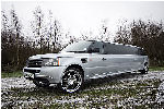 Chauffeur stretch silver Range Rover Sport limo hire in Glasgow, Edinburgh, Scotland